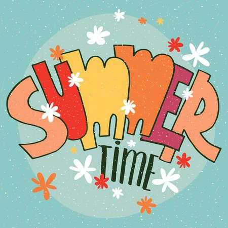 Die Inschrift von amüsanten bunten Buchstaben - Summer Time-Konzept und Schriftzug Vektorgrafik