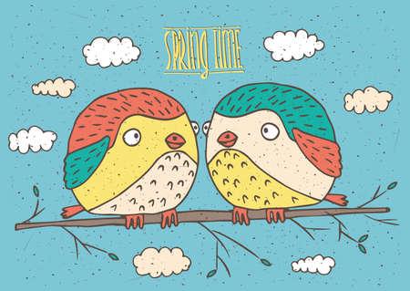 enamorados caricatura: Linda pareja de p�jaros que se sientan en una ramita y mirando el uno al otro - La primavera est� llegando concepto Vectores