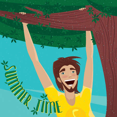 elation: Happy man hanging on a branch - Summer Time concept and lettering