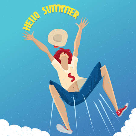 gesticulation: Bottom view on funny girl jumping above the clouds and throw a hat - Summer Time concept Illustration