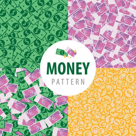 frugality: Set of patterns with a lot of money such as euro, dollars, coins and euro with dollars Illustration
