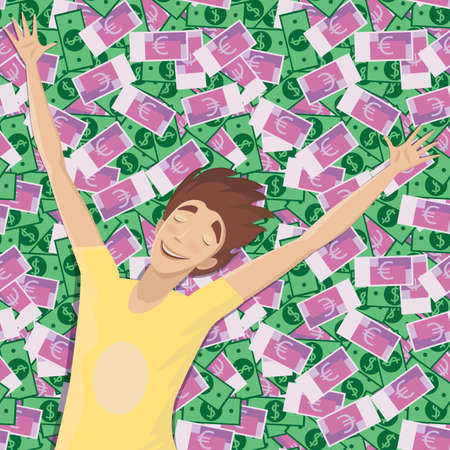 outspread: Happy man lying on a pile of money with outspread arms and closed eyes - wealth and riches concept Illustration