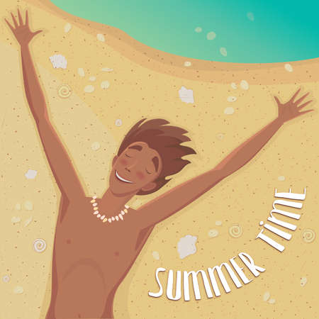 outspread: Happy man lying on the beach with outspread arms and closed eyes - Summer Time concept and lettering Illustration
