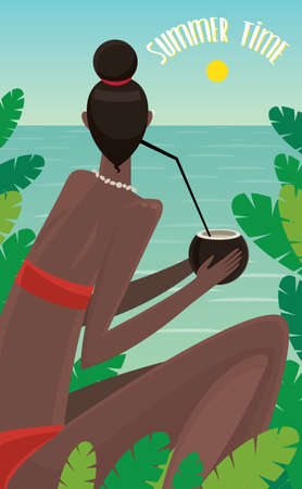 looking at view: View from the back on dark-skinned girl sitting in jungle, looking at ocean and drinking coconut - Summer Time concept and lettering
