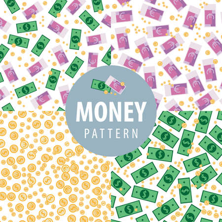 frugality: Set of money patterns such as euro, dollars, coins and euro with dollars