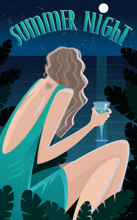 ocean view: View from the back on girl sitting in jungle by the ocean and drinking cocktail at night - Summer Time concept and lettering