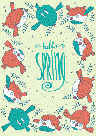 beak: Floral lettering Hello Spring and several birds with a twig in its beak - Spring is coming concept Illustration