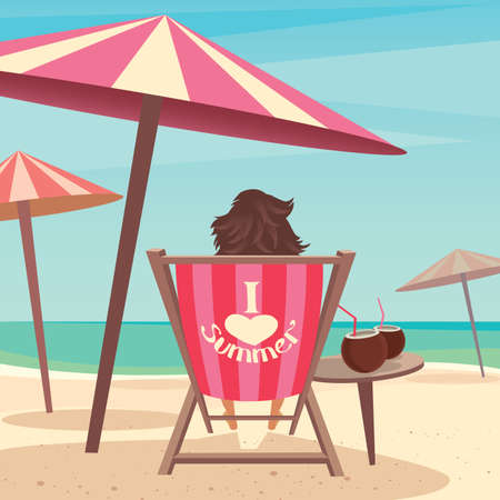 Girl sitting on a deck chair under an umbrella by the sea - Relax or laze concept Illustration
