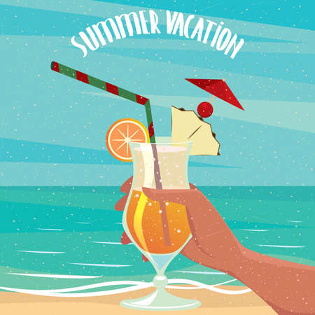 exotic woman: Woman or man by the sea is holding in hand an exotic cocktail - Holidays or vacation concept