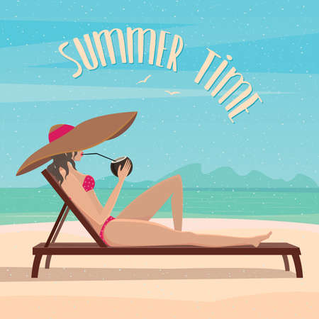 voyager: Girl lying on a sun lounger on the beach and drinking an exotic cocktail - Relax or vacation concept