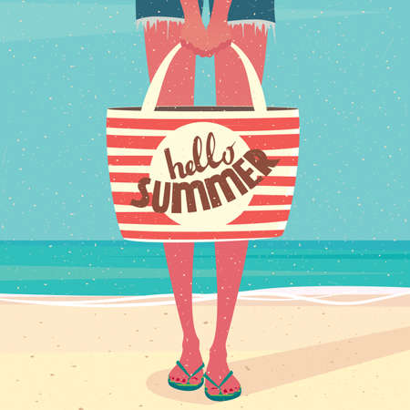 leave: Girl standing on the beach near sea and holding a beach bag - Vacation time or annual leave concept Illustration