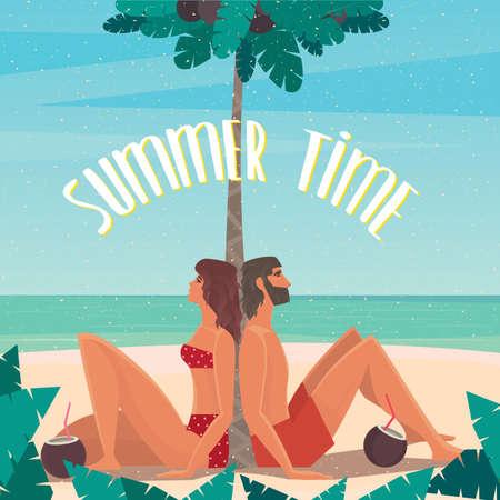 Pares que se sientan en una playa bajo una palmera por el mar se echó hacia atrás en una palmera - concepto de paraíso o utopía Foto de archivo - 53880227