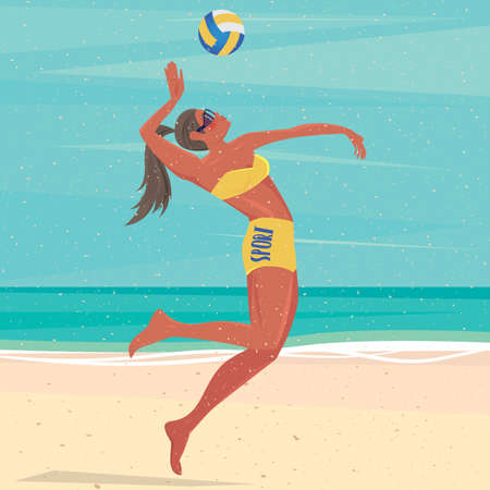 ardor: Volleyball player on a beach jumping hits the ball - Fitness or training concept