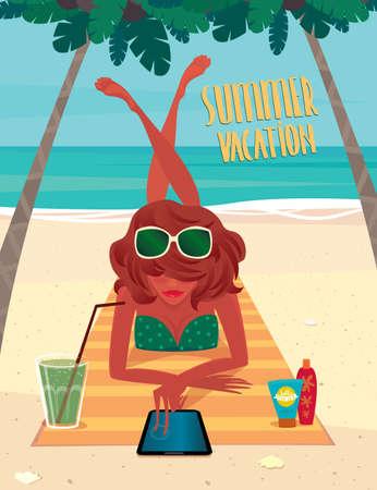 Girl sunbathing on a beach mat on the beach and using a tablet - Beach holidays concept Illustration