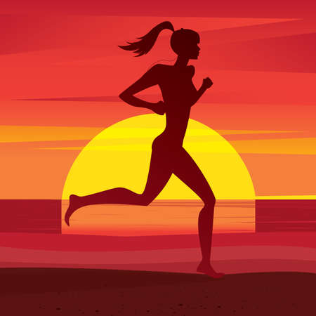eagerness: Girl athlete running on the beach at sunrise or sunset - Fitness or training concept Illustration
