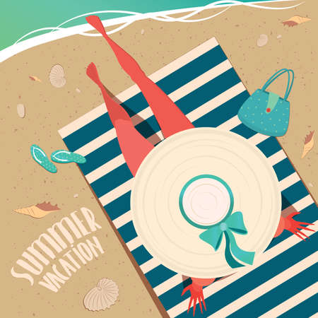 top hat cartoon: Top view of a girl in wide-brimmed hat sitting on a striped beach mat by the sea - Summer vacation concept