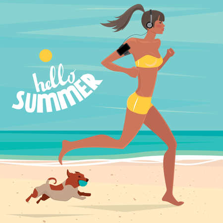 eagerness: Sport woman with headphones and phone in armband running on the beach, and near a dog runs with the ball - Healthy lifestyle concept