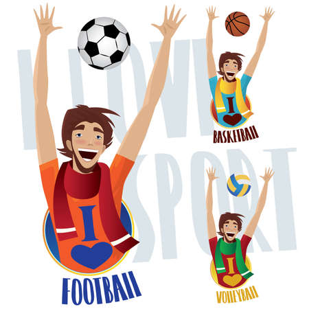 reach out: Set of three happy sports fans, football or soccer, basketball and volleyball - Sports lovers concept