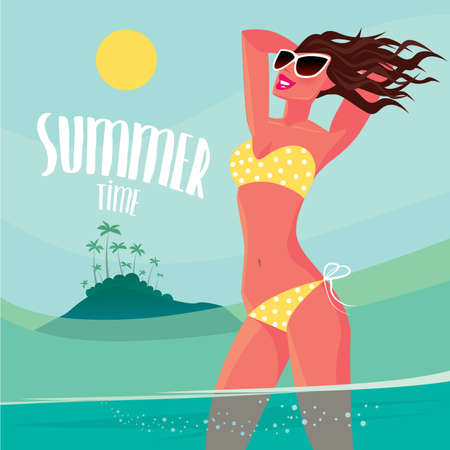 ardor: Sexy woman in a dotted yellow swimsuit sunbathes standing on the cay near the island - Luxury vacations concept