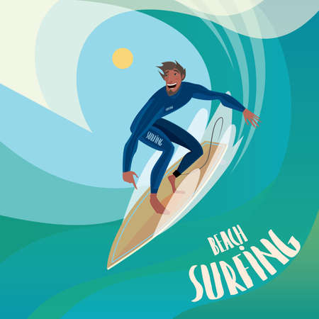 Happy man in blue dive skin on a surfboard to ride the wave - Sport or surfing concept Illustration
