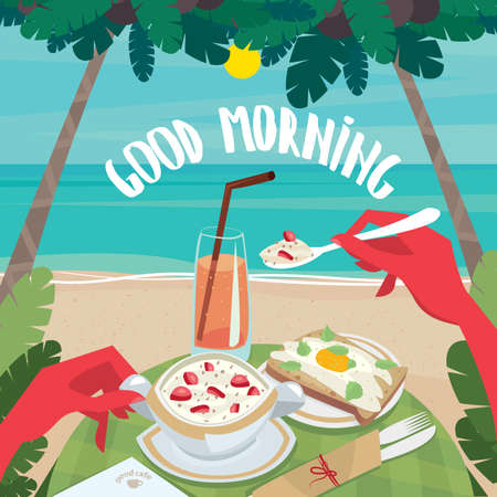 english breakfast: Tanned man eating muesli with strawberries and fried egg with bread on the beach. First-person view - English breakfast or lunch concept
