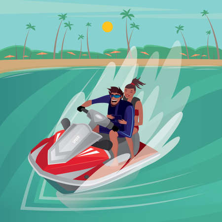 Happy man riding with cute girl on red water scooter near the beach - Sport or recreation concept  イラスト・ベクター素材