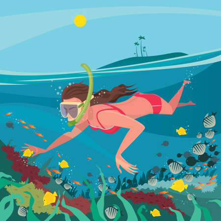 Cute girl in red swimsuit swimming under water with mask and snorkel around the coral reef - Underwater world or snorkeling concept