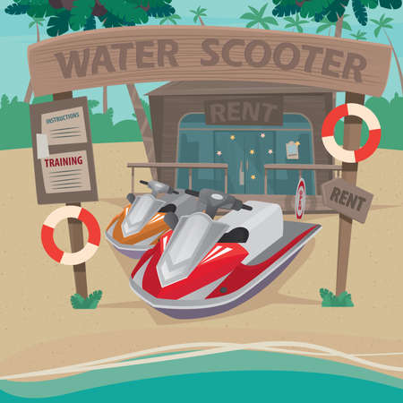 out of water: Wooden little house on the beach where rent out water scooters - Rental services and training services concept