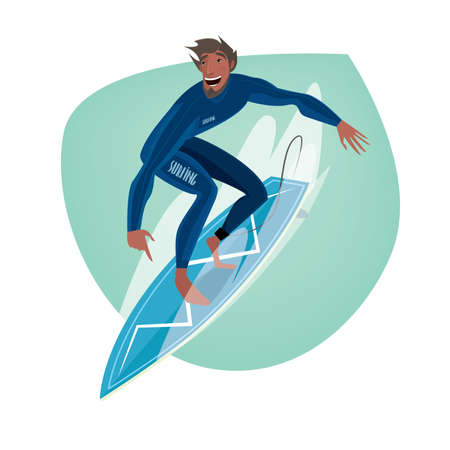 wave surfing: Isolate clip art on white background with happy man in blue dive skin standing on a surfboard - Sport or leisure concept Illustration