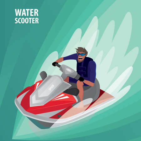 eagerness: Happy man in blue dive skin rushes on red water scooter - Recreation or sport concept Illustration