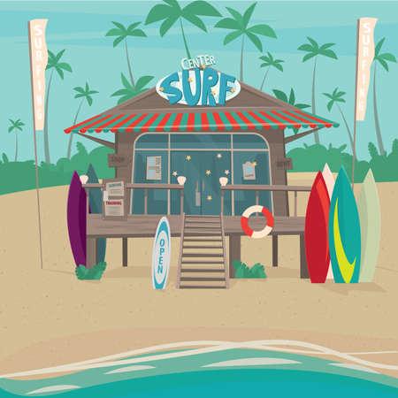 Jolie petite maison sur pilotis sur la plage où apprendre à monter une planche de surf. Autour de l'équipement de sport - Location de surf ou le surf concept de formation