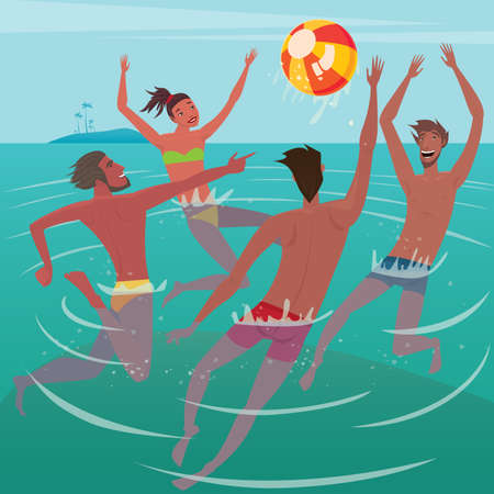 Several happy young men and woman up to the waist in water playing with the ball - Activity or leisure concept Illustration