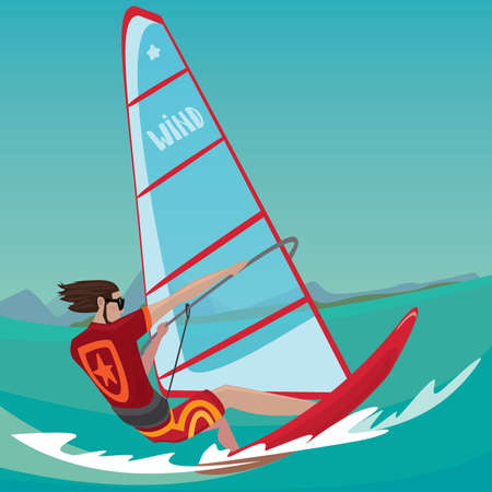 adrenaline rush: Sports man rushes standing on the board and holding the sail with two hands - Extreme sport or windsurfing concept Illustration
