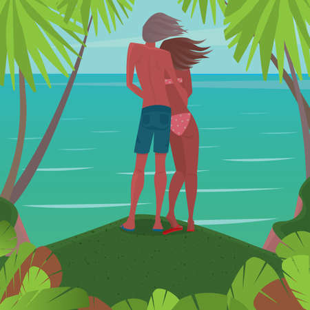 back view man: Full length view of a tanned couple in swimsuits standing at the cliff and looking at sea - Relationship or serenity concept