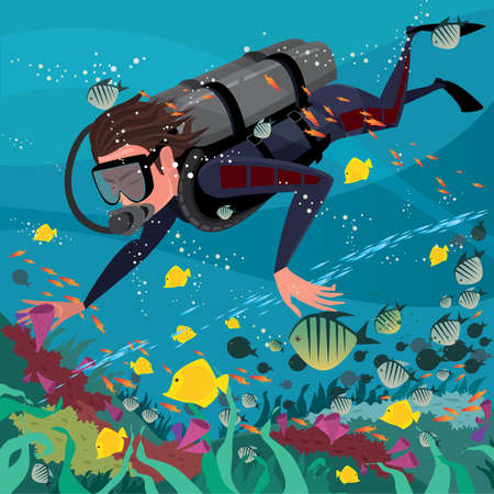 coral reef underwater: Man diver in wetsuit and with scuba exploring coral reef - Underwater world or scuba diving concept
