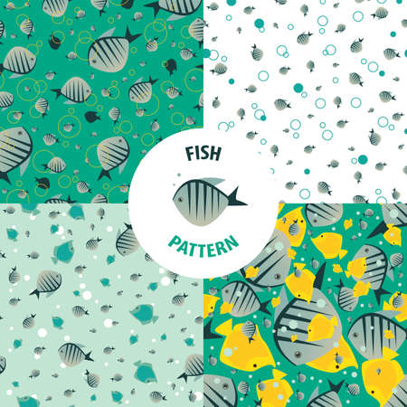 saturated color: Set of vector fish patterns with striped small fishes of saturated color. Primary colors green and yellow Illustration