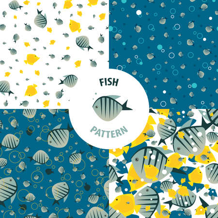 primary colors: Set of vector sea patterns with striped fishes of bright color. Primary colors blue and yellow
