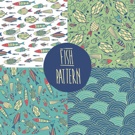 primary colors: Set of vector sea patterns with cute fishes and waves. Primary colors blue and green Illustration