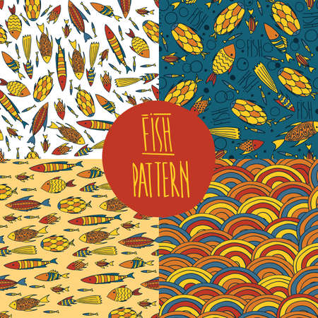 primary colors: Set of vector sea patterns with cute small fishes and waves of bright color. Primary colors yellow and red