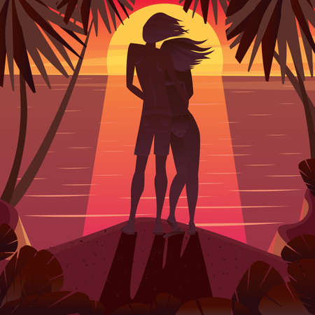 love affair: Full length view of a silhouette of a couple standing at the cliff and watching the sunset - Calm or love concept