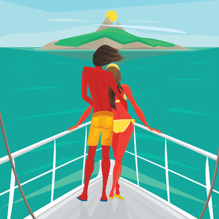 back view man: Young couple in love standing on the front of the boat deck and looks at an island in the distance. View from the back - Cruise or sea voyage concept Illustration