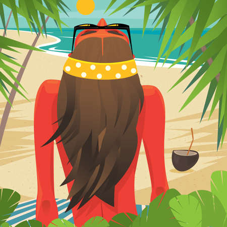 tanned girl: Tanned girl sitting leaning on hand on the beach under palm trees. View from the back - Leisure or sunbathing concept Illustration