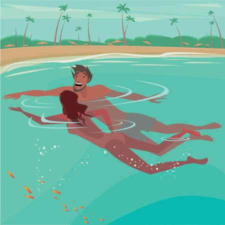 happy couple beach: Happy couple swimming in the sea near the beach - Honeymoon or vacation concept