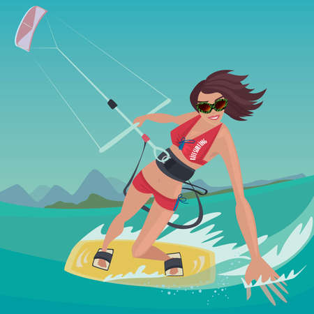 Cheerful sports girl in red swimsuit rushes standing on the kiteboard, in one hand holding power kite, and the other touches the water surface - Kitesurfing or extreme sport concept Vectores