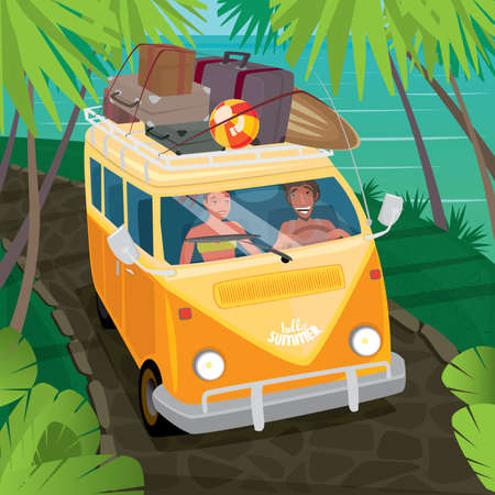 through travel: Happy couple riding in a fun yellow van through the jungle along the ocean. Suitcases and surfboard on the roof of the car - Hippie or travel concept