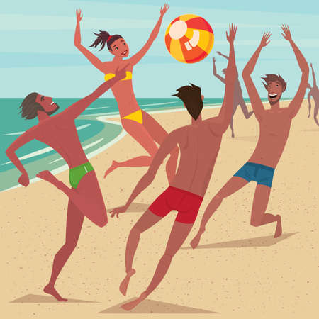 toss: Several happy young men and woman on the beach playing with the ball - Leisure or activity concept Illustration