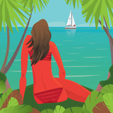 tanned girl: Beautiful young tanned girl in bathing suit sitting on the edge of the shore and admiring the view of the ocean with sailing yacht - Exotic holidays or leisure concept