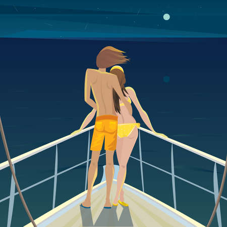 fondness: Young man and a beautiful girl standing on the deck at night and admire the moon and stars - Romantic date or Calmness concept Illustration