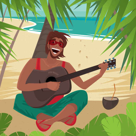 furlough: Carefree fun guy sitting on a beach under a palm tree, plays guitar and sings, standing next to a coconut drink. Front view - Happiness or Freedom concept Illustration