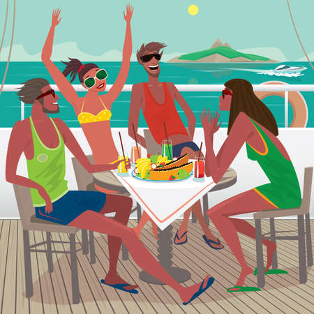 elation: Four friends sitting at a table on the ship deck Illustration